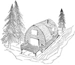 2 bedroom 17' × 28', 2 story, arched rafter house - free plans