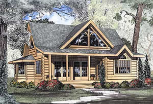 1,449 sq. ft. log house plans