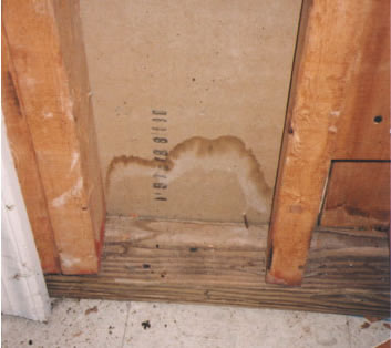 water stain on a basement wall