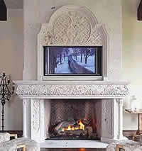 cantera stone fireplace surrond & mantel