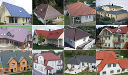 Collage of house roofs