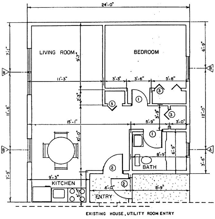 Independent living home addition building plans plan 1 for Bedroom addition plans free