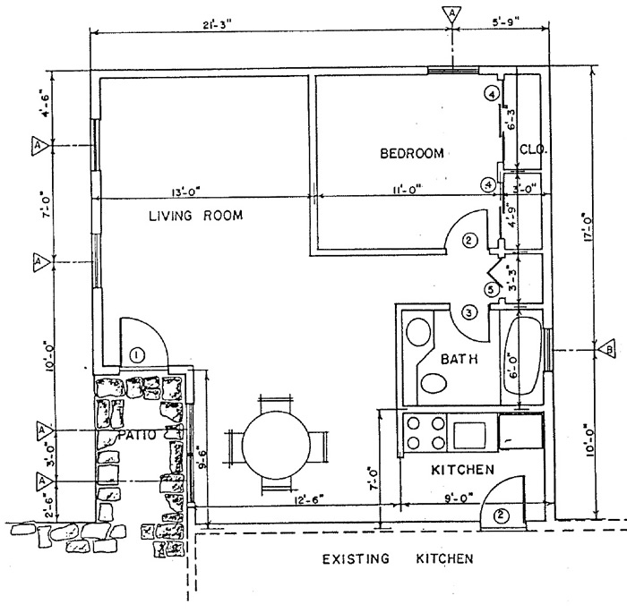 Independent living addition, Building Plan 3 - addition floor plan - free plans