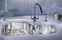 Two bowl stainless steel undermount sink