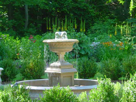 Fountain in landscaping