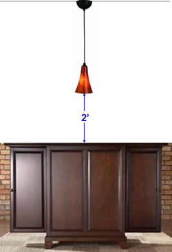 Height Of Pendant Light Fixture Above Bar