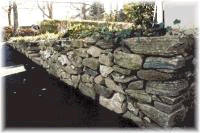 rocks in retaining wall for landscape