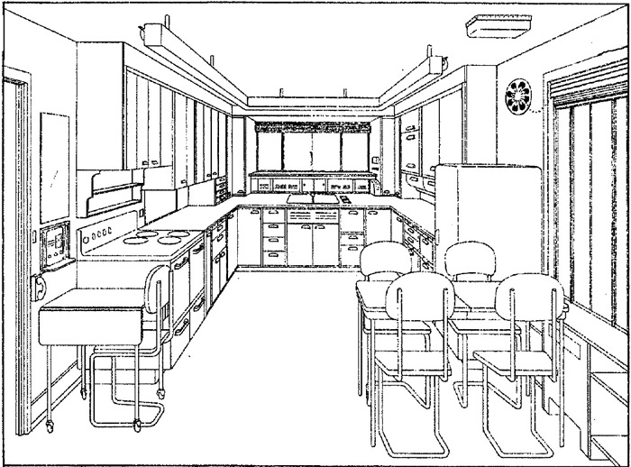 U shaped kitchen perspective