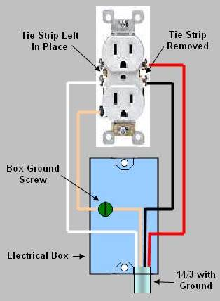 Installing replacing an electrical receptacle part 2 duplex wall receptacle where the upper and lower sockets are wired to separate breakers asfbconference2016 Images