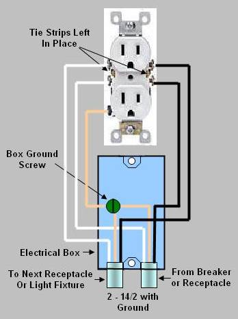 figurecommon duplex electrical outlet wiring circuit Typical House Wiring Diagram