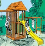 jungle gym plans - slide, climbing rope and swings