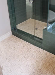 Bathroom Floor Tile Designs on Figure 1   Pebble Tile On Bathroom Floor And Stall Shower