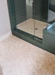 Pebble Tile On Bathroom Floor And Stall Shower