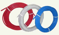 red, bule and white PEX tubing