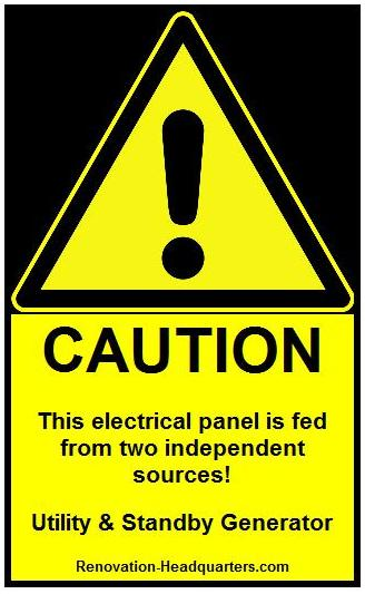 electrical panel warning label for standby generator