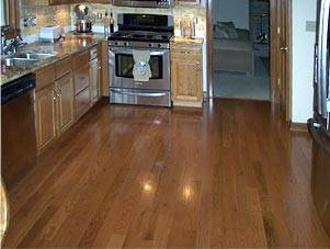 Hardwood Flooring Installed In A Kitchen