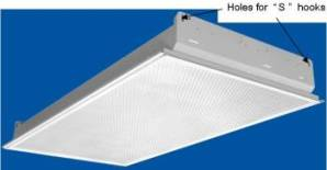 Lay-in fluorescent light fixture with holes for <q>S</q> hooks.