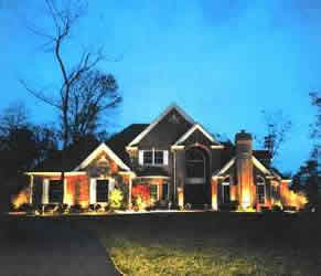 House illuminated with low voltage lighting