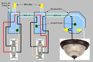 Light Switch Wiring Diagram on Way Switch Wiring Diagram  Power Enters At One 3 Way Switch Box