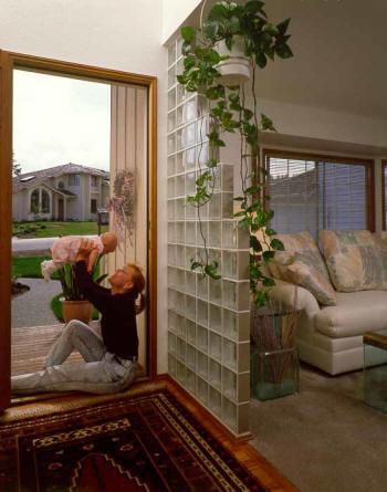 Glass blocks types styles - Glass block windows in living room ...