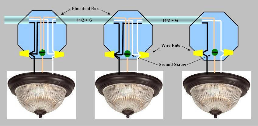 4 Wire Light Fixture Wiring Diagram : Wiring multiple lights off of an existing light