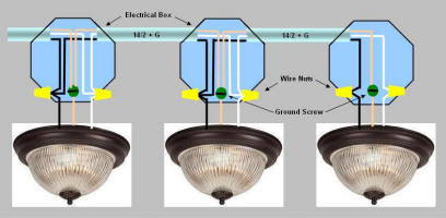 Light Fixture Wiring Diagram:  Multiple light fixtures controlled by 3-way switches.