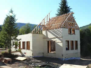 house with gable roof under construction