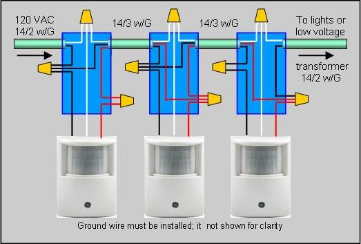 How to wire 2 or more motion sensors to the same lights drawing of actual wire connections for installing multiple motion sensors asfbconference2016 Choice Image