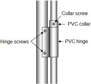 PVC pipe hinge half section
