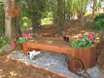 redwood bench with planters - free plans, drawings & instructions