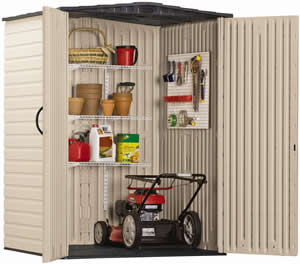 Rubbermaid vertical shed open