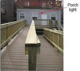 porch light provides inadequate for wheelchair ramp