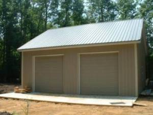 Garage Constructed On Concrete Pad