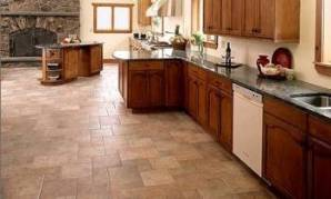 Kitchen Floor With Porcelain Tile