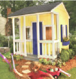 simple playhouse with porch and railing - free plans, drawings & instructions