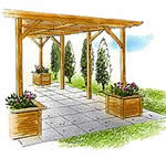 pergola with planters - free plans, drawings & instructions