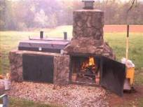 stone barbeque and smoker