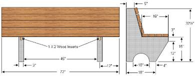 diagram of garden bench with concrete supports